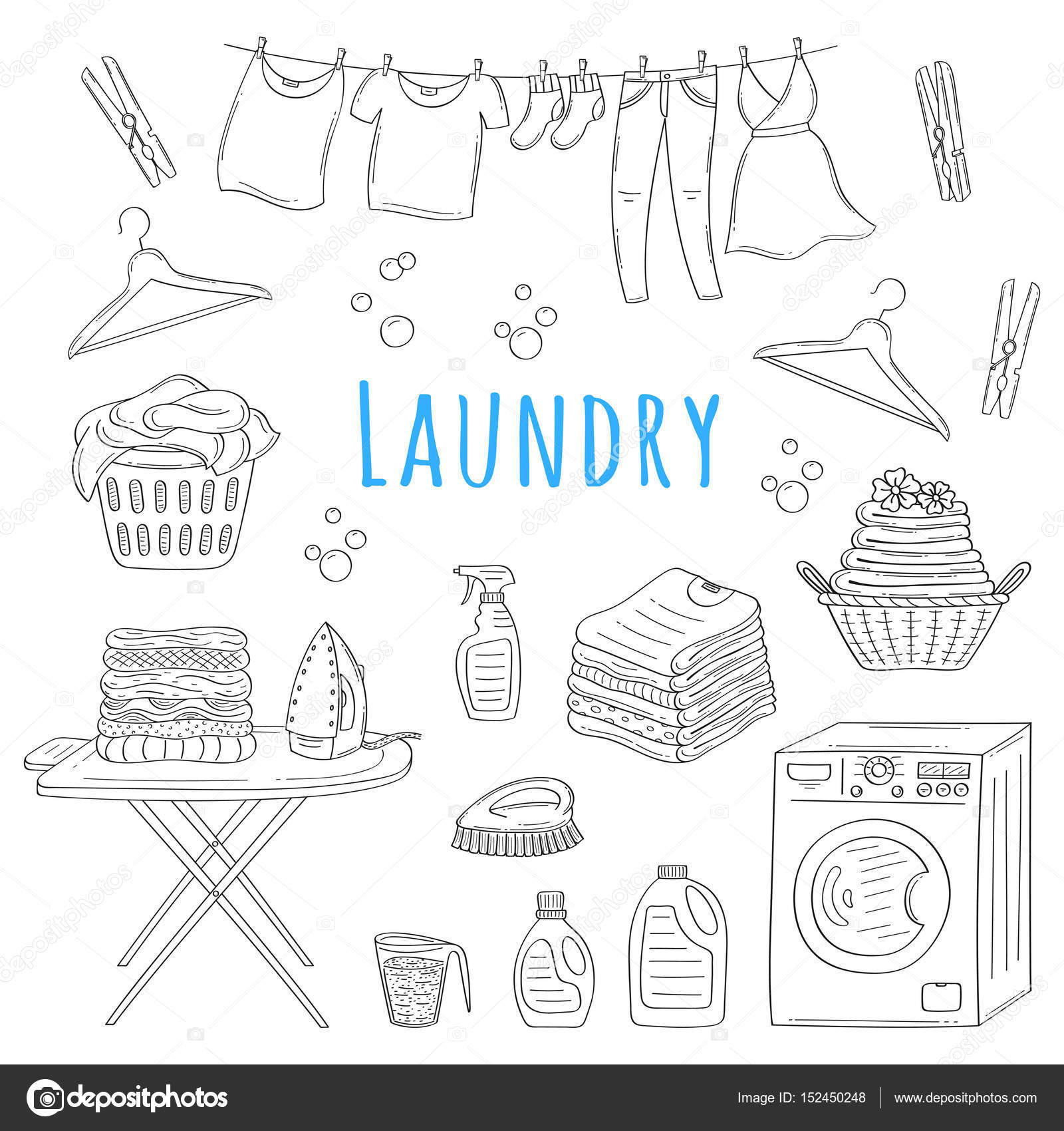 Laundry service hand drawn doodle icons set vector illustration washing drying and ironing symbols washing machine laundry basket clothes drying iron ironing board hanger folded clothing vector by tedted biocorpaavc Image collections