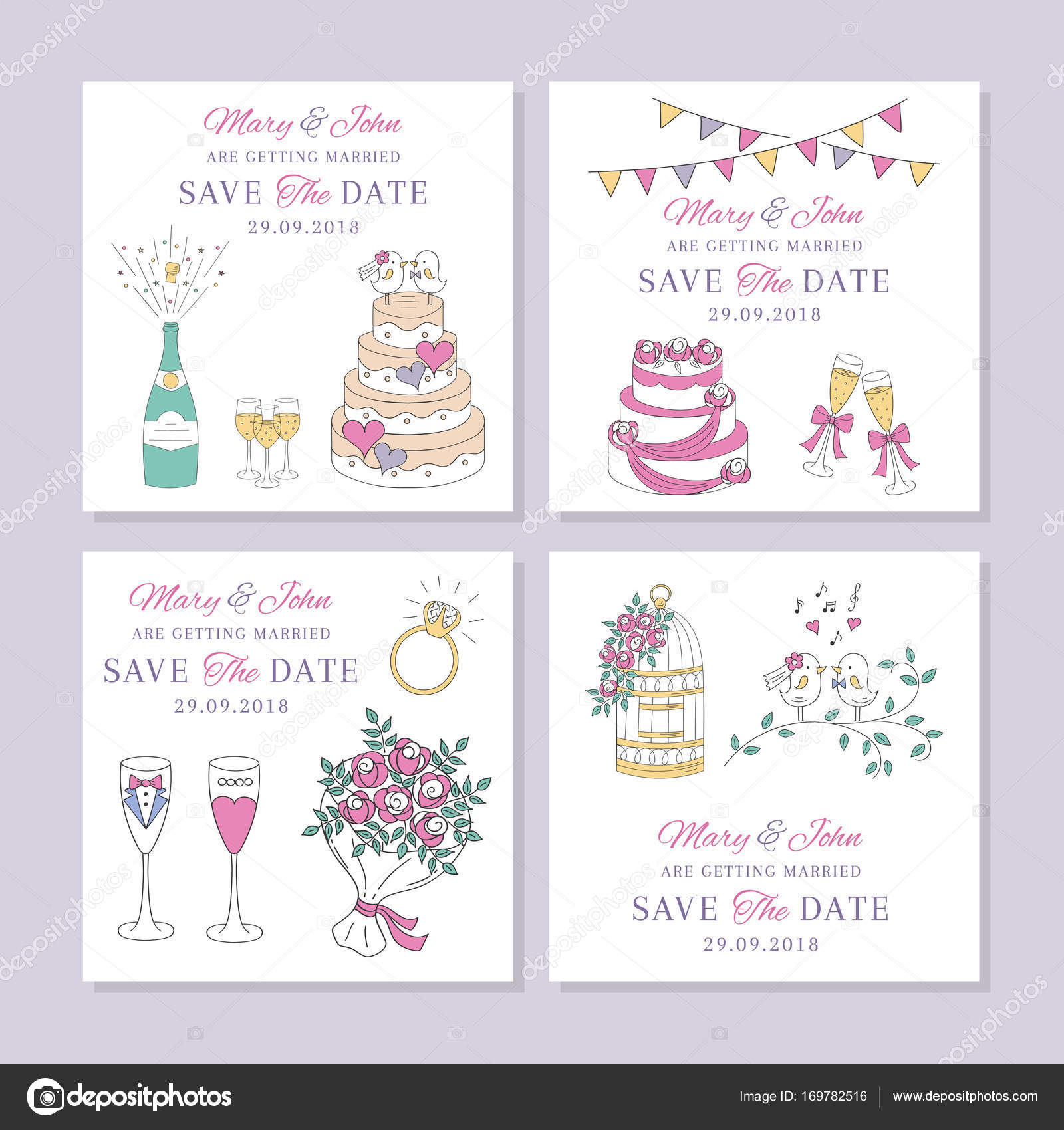 Conjunto de vectores de tarjetas de boda — Vector de stock © tedted ...