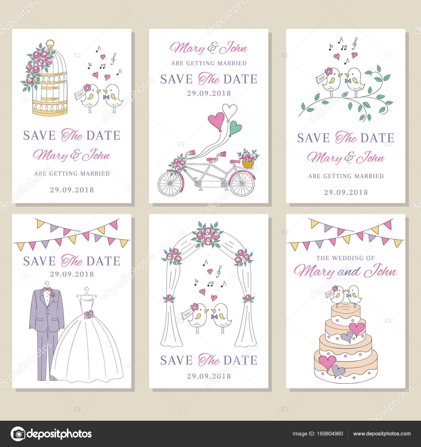 Vektor Set Von Hochzeitskarten Stockvektor C Tedted 169804960