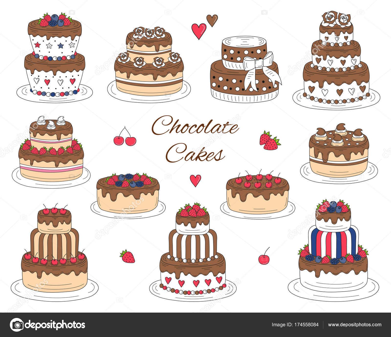 Schokolade Kuchen Gesetzt Wie Von Hand Gezeichnet Bunte Doodle