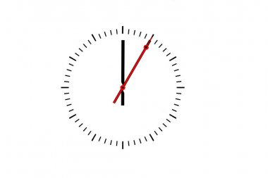 Clock, dial with a minute hand and a red second hand indicates 1
