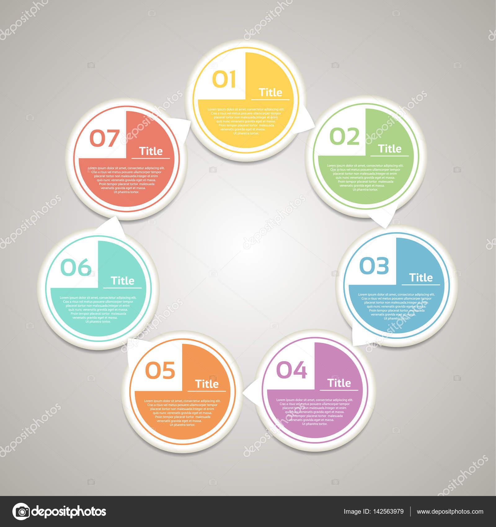 Infogrfico de crculo de vetor modelo de diagrama grfico modelo de diagrama grfico apresentao e grfico conceito de negcio com 7 opes cclicas partes etapas ou processos fundo abstrato vetor de ccuart Image collections