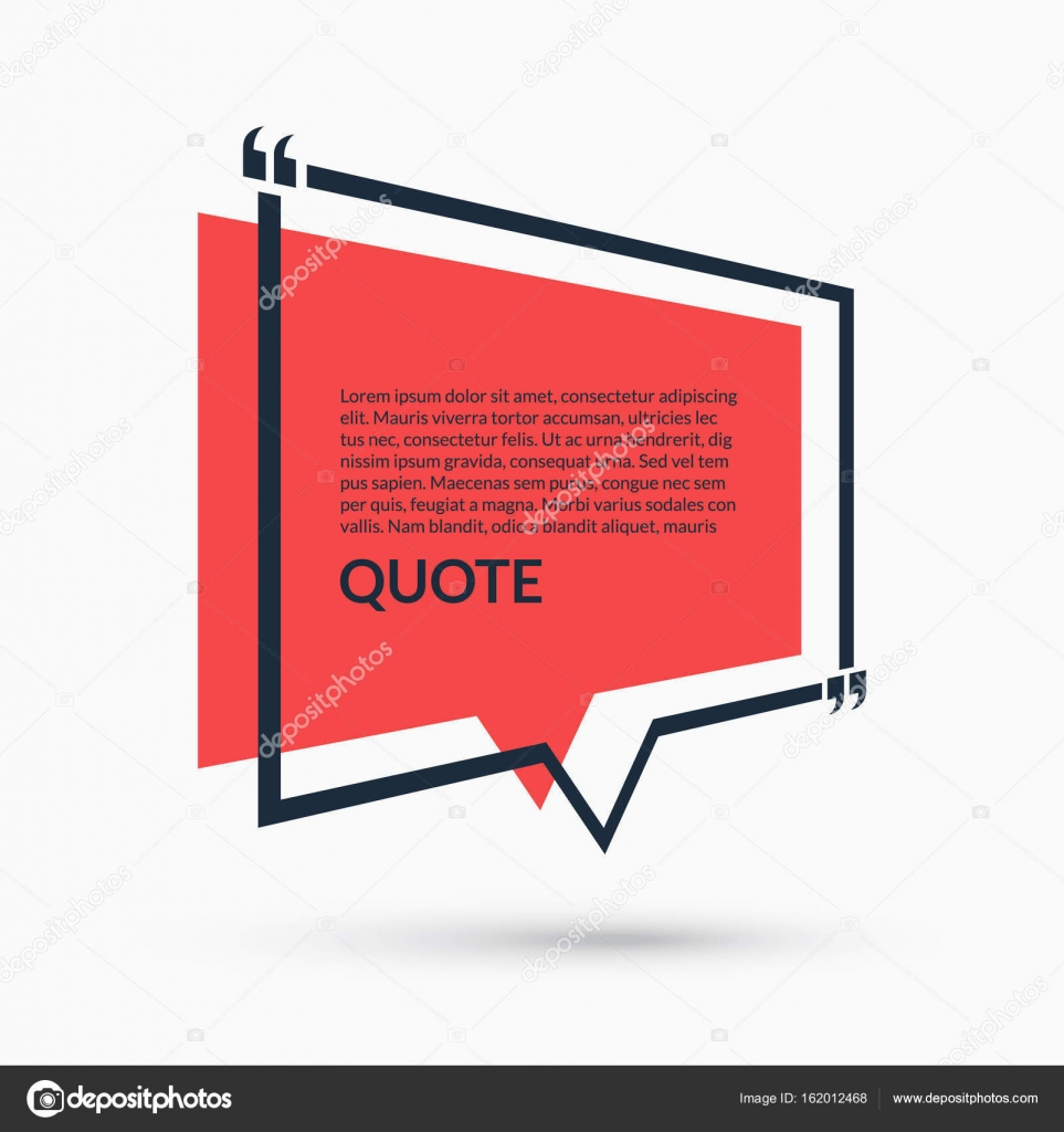 Quote speech bubble, blank template, text in brackets, citation ...