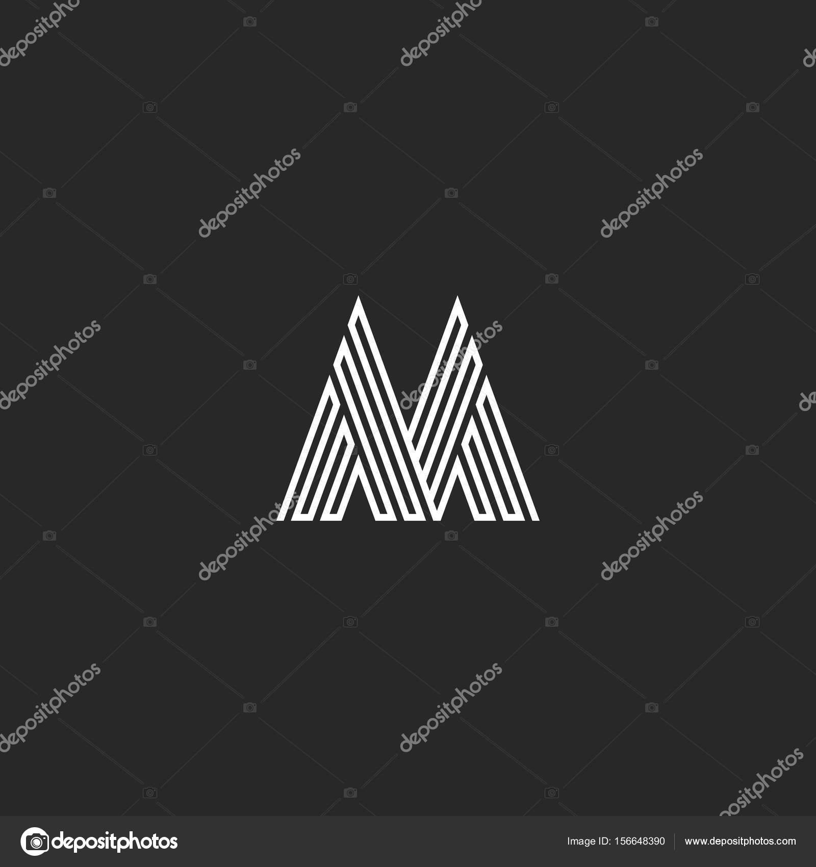 Letter M Logo Hipster Initial Mockup Thin Broken Line Monogram
