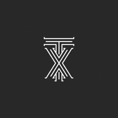 TX letters logo medieval monogram, intersection lines shape XT initials, wedding card emblem X T combination linked two symbols hipster design element template