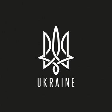 Trident logo mockup monogram weaving lines Emblem of Ukraine, linear art typography design element, black and white style decoration Neptune emblem