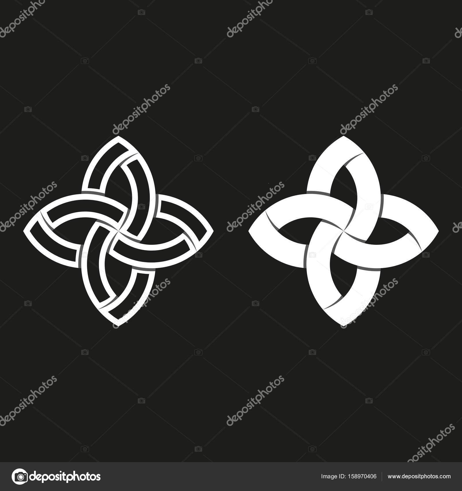 Sacred geometric logo black and white overlapping paper stripes weaving symmetry geometric shape meditation symbol feminine emblem vector by uasumy biocorpaavc Images