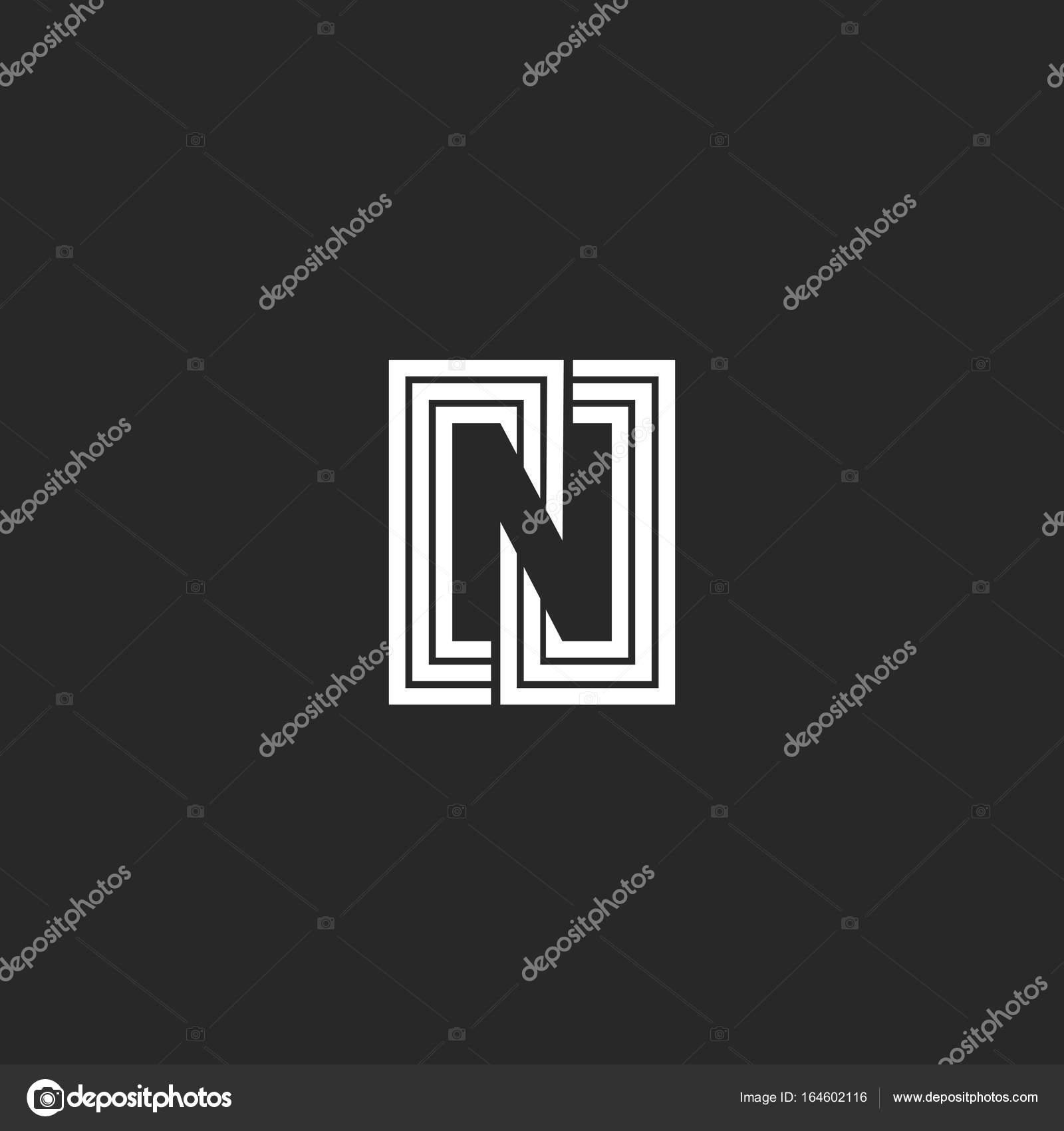 Estilo de letra N logo espacio negativo monograma. Símbolo del ...