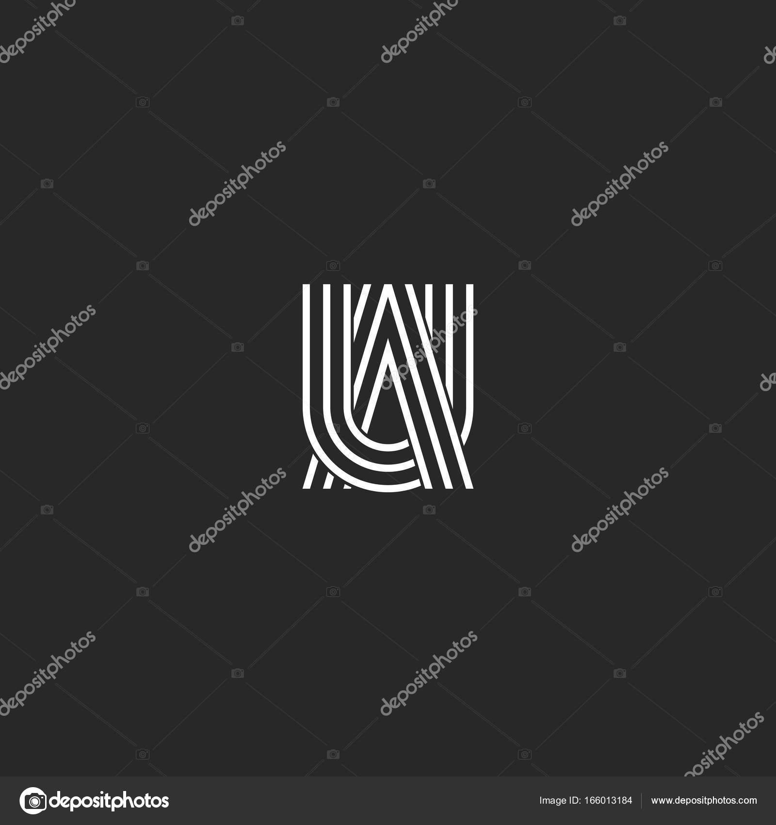 Logo UA letters monogram combination symbols, thin lines linked ...