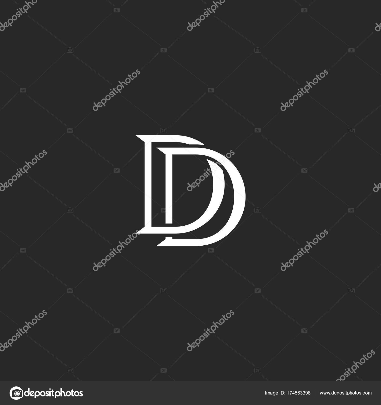 Briefe Initialen Dd Monogramm Weberei Schwarzen Und Weißen Linien Logostil,  Mark Kombination Zwei Buchstaben D Hochzeit Einladung Schriftzug Typografie  ...