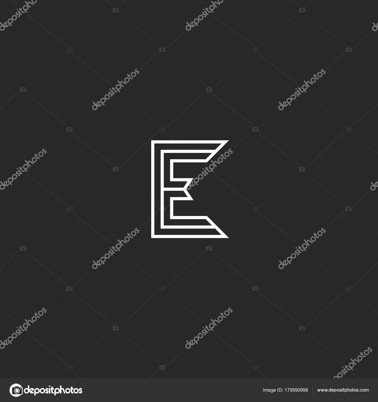 letter e logo elegant monogram thin lines medieval minimal style wedding or business card capital