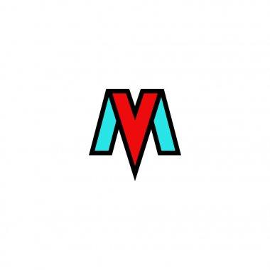 Logo MV letters elegant flat emblem, combination tech initials M and V, blue and red symbols VM mark stylish construct