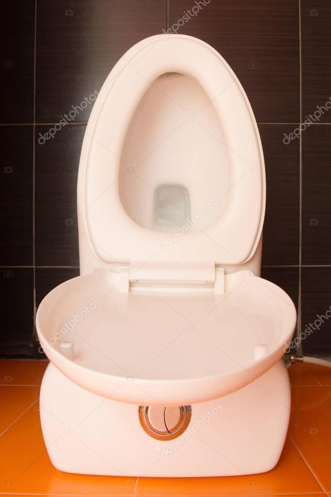 Toilet seat decoration in bathroom interior Top view Stock Photo