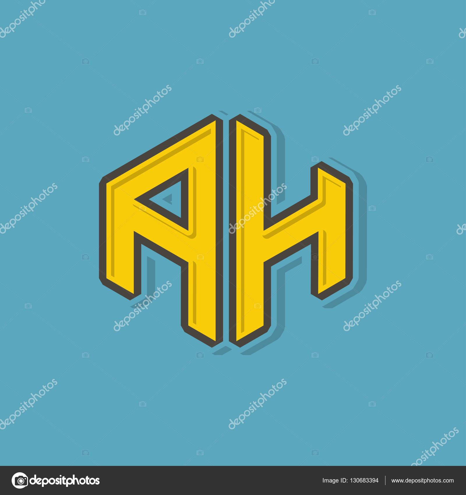 A H Monogram Lettering With 3d Style For Corporate Business Identity Design Printing Publication T Shirt Design Vector Illustration Stock Vector C Jumpeestudio 130683394