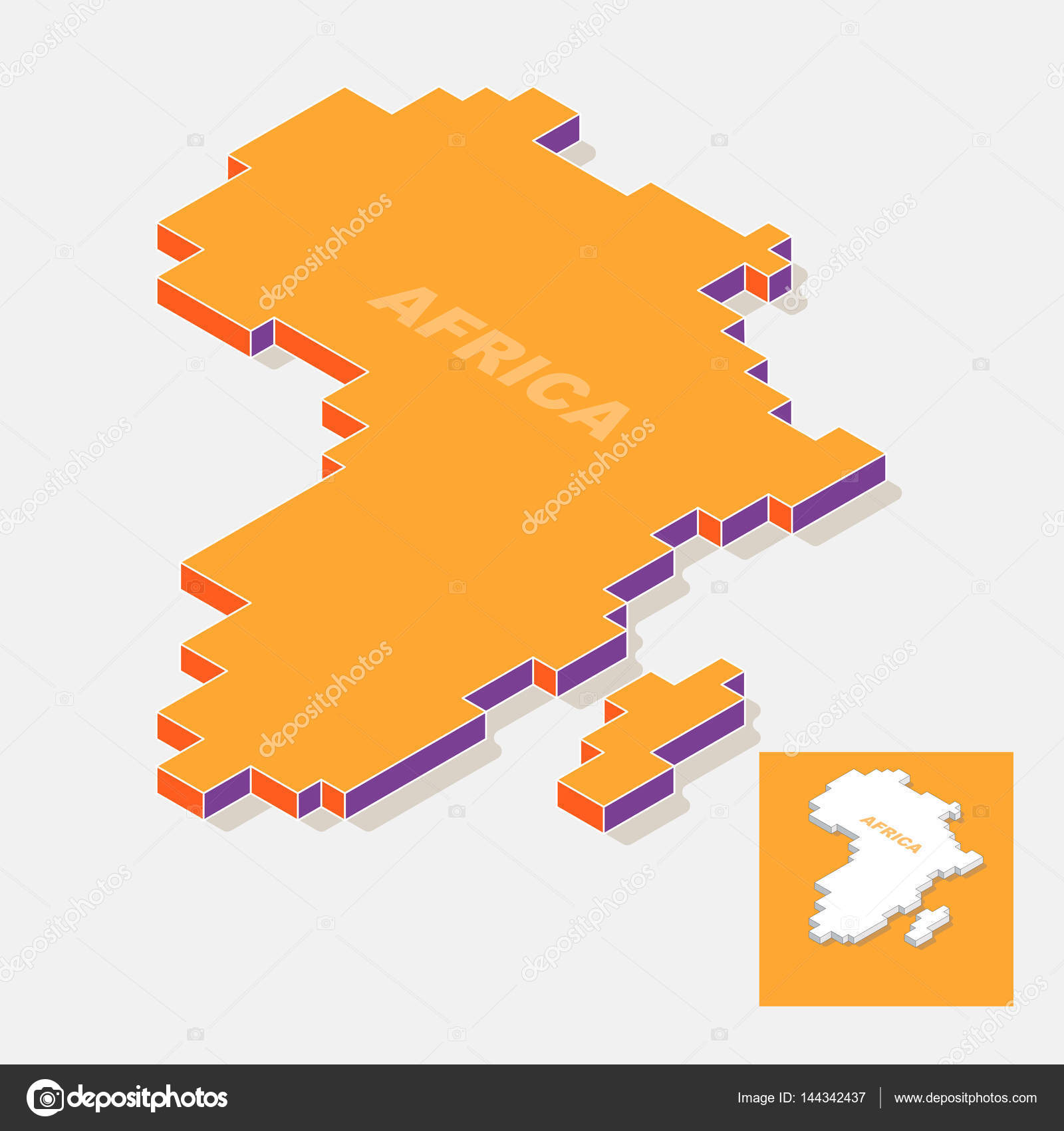 Shape Of Africa Map.Africa Continent Map Element With 3d Isometric Shape Isolated On