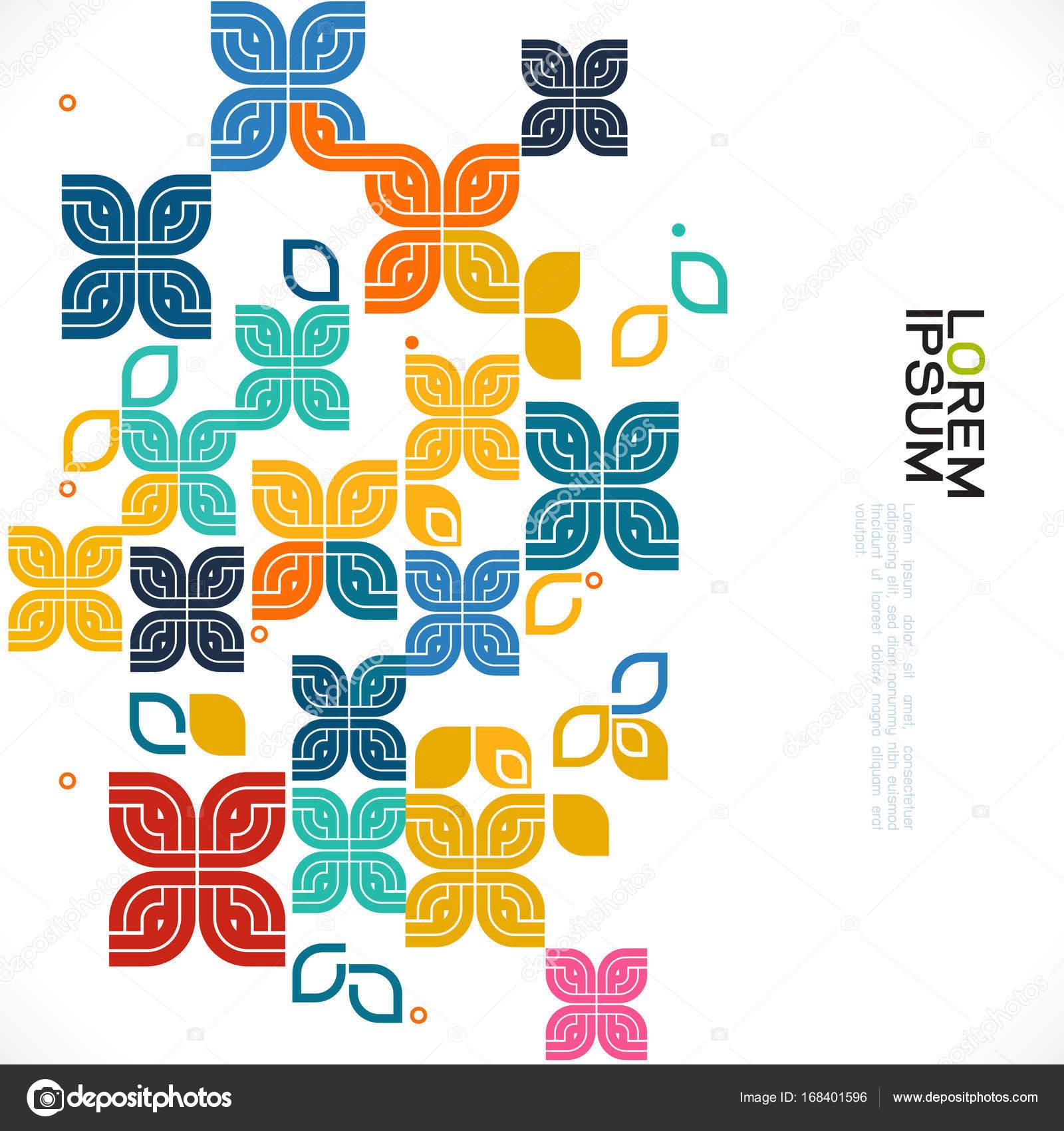 bunte Muster und verschiedene grafische Dekoration mit Blumen und ...