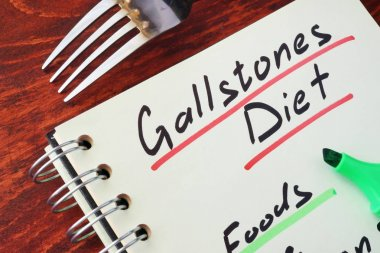 Page of a note with title Gallstones diet.