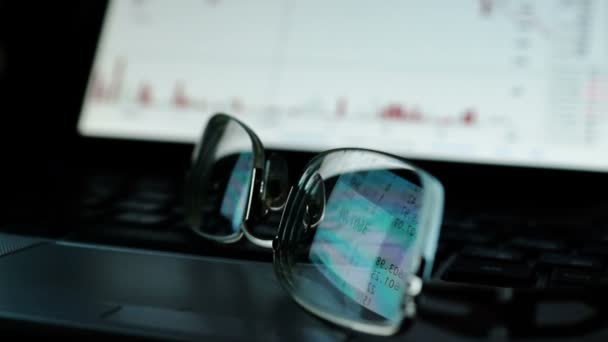 Online stock trading concept. Reflection with financial data on glasses.
