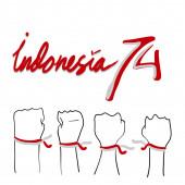 indonéz függetlenségi nap illusztráció zászló és tipográfiai indonéz nyelven azt jelenti, boldog függetlenséget firka rajzfilm stílus