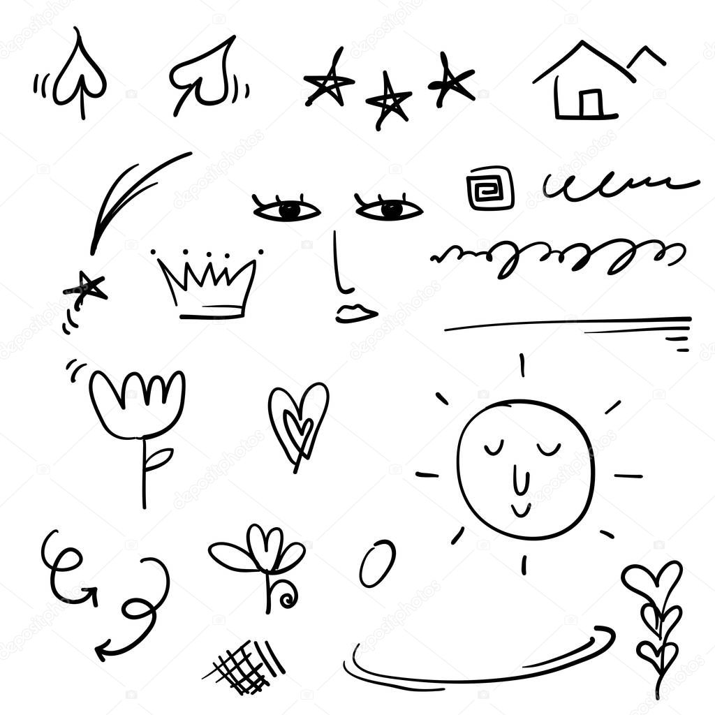 Doodle Emphasis Elements Black On White Background Vector Symbols And Logo Arrow Heart Love Hand Made Homemade Star Leaf Sun Light Flower Daisy Graffitti Crown King Queen Cartoon Style Premium Vector Choose from over a million free vectors, clipart graphics, vector art images, design templates, and illustrations created by artists worldwide! white background vector symbols