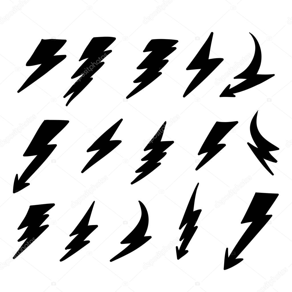 set lightning bolt thunderbolt lightning strike doodle hand drawn style vector illustration thunder and bolt lighting flash icons set vector isolated premium vector in adobe illustrator ai ai format encapsulated set lightning bolt thunderbolt