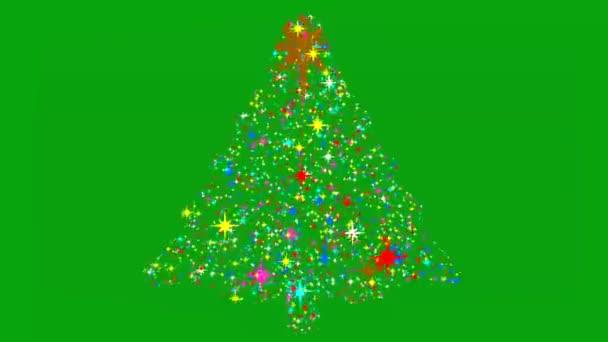 Barevné hvězdy ve tvaru vánočního stromku se zeleným pozadí obrazovky