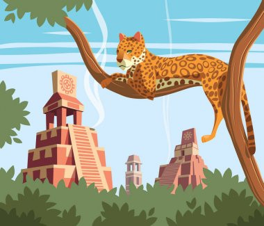 Jaguar on tree and Ancient Mayan Pyramids in background