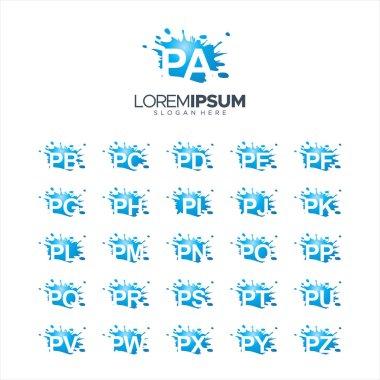 Splash Brush vector letter PA - PZ Logo Vector Illustration 10 EPS