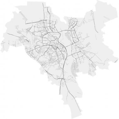 Vector map of Ukrainian city Kyiv (Kiev) with highways and streets, administrative borders, grey color with white background