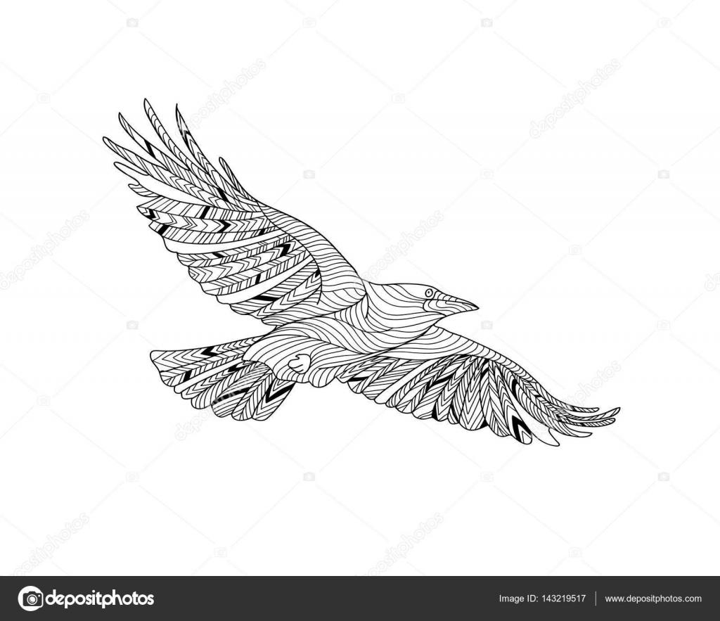 Handgezeichnete Krähe mit ethnischen Muster. Malvorlagen - Zendala ...