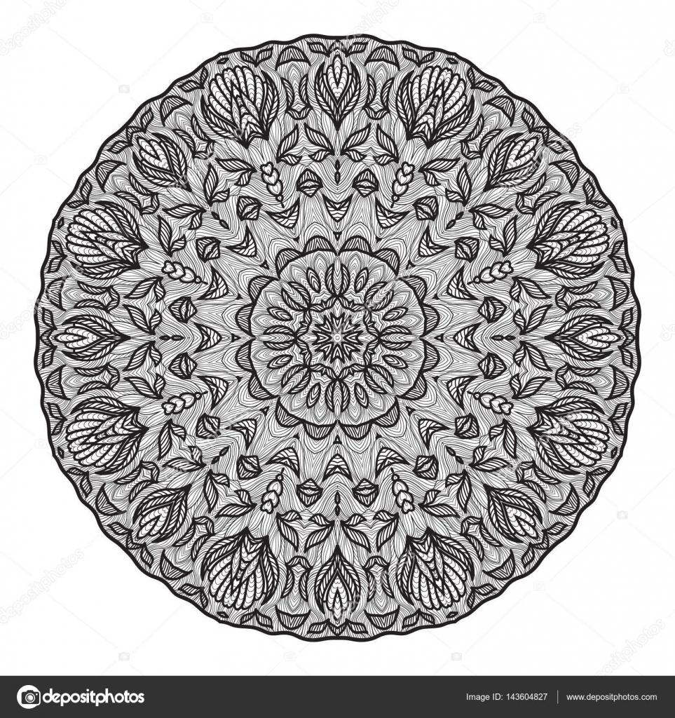 Verrückte Mandala Vorlage für Malbuch, Zendoodle. Runde Zentangle ...