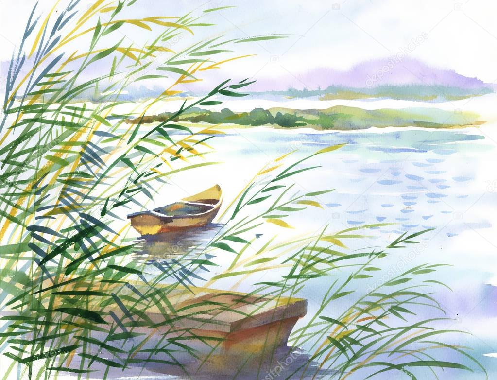 rural landscape with boat