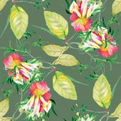 Fotografie flowers and leaves seamless pattern