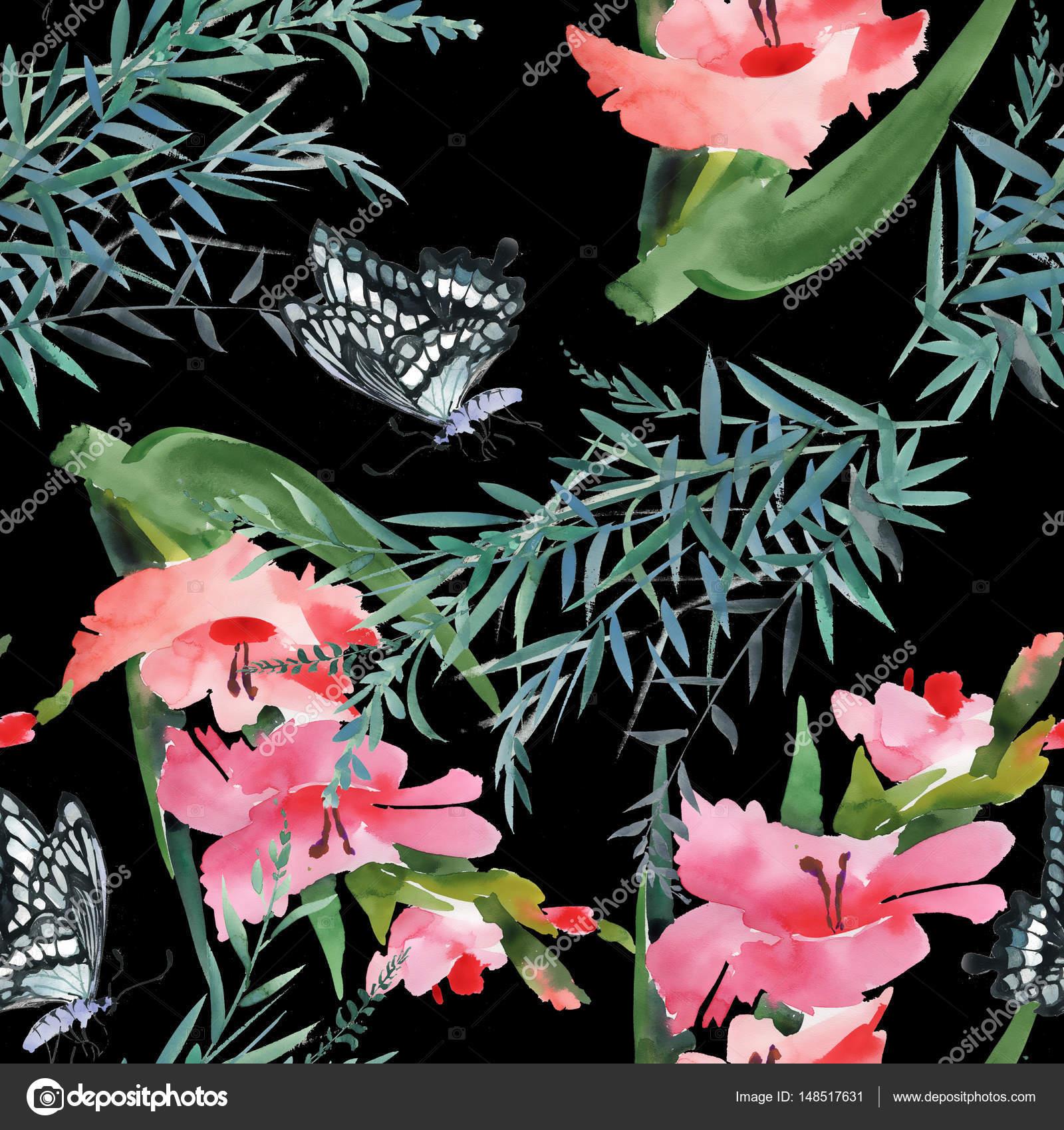 Цветы с бабочками бесшовный фон — Стоковое фото © Kostan ...