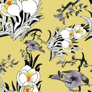 beautiful pattern with flowers and birds