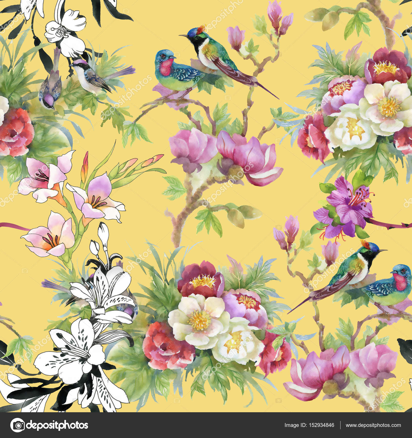 Beautiful Pattern With Flowers And Birds Stock Photo Kostan