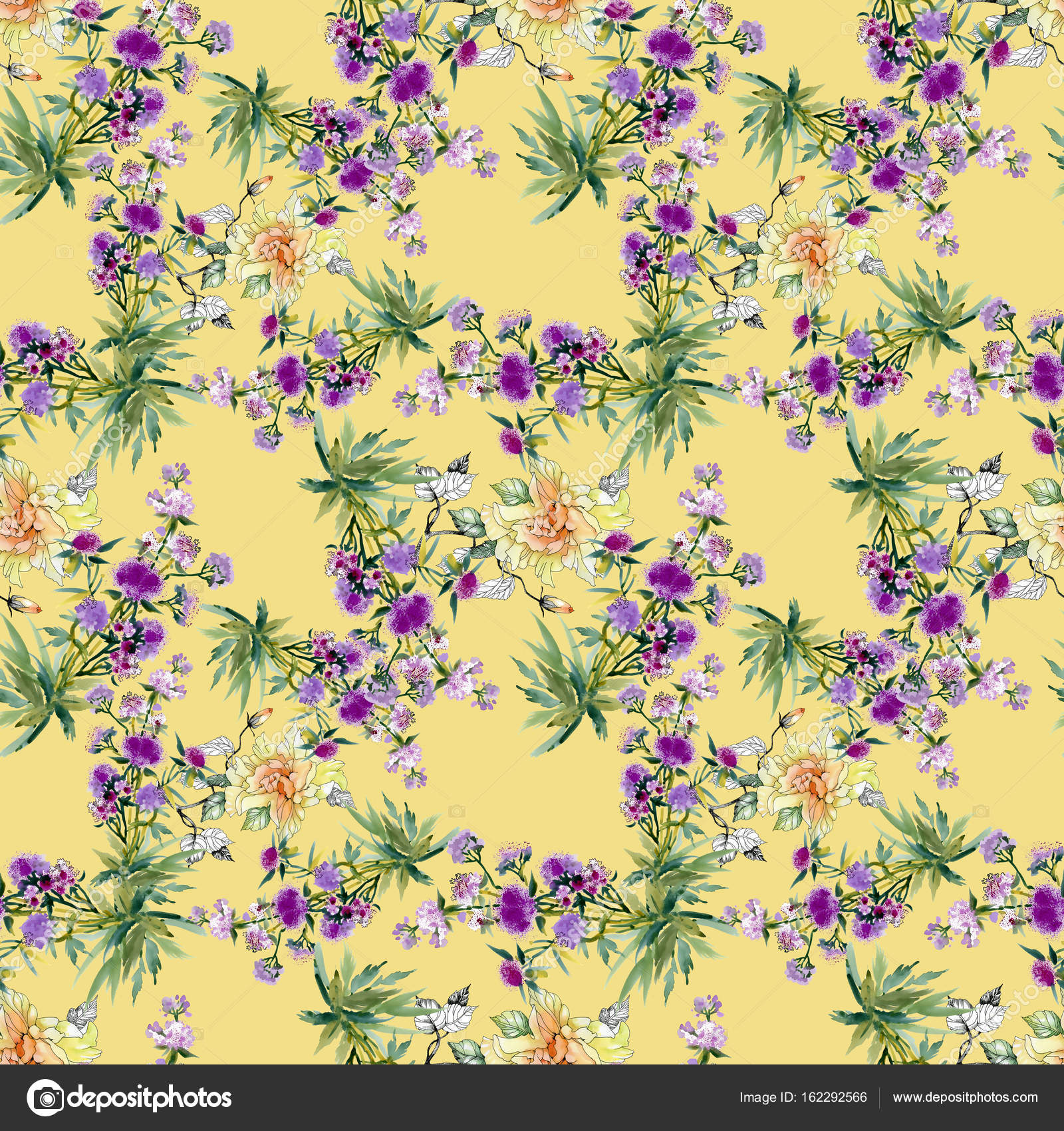 Yellow And Purple Flowers Pattern Stock Photo Kostan Proff
