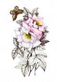 Kézzel rajzolt rózsaszín virág