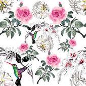 Fényképek minta színes virágok és a madarak