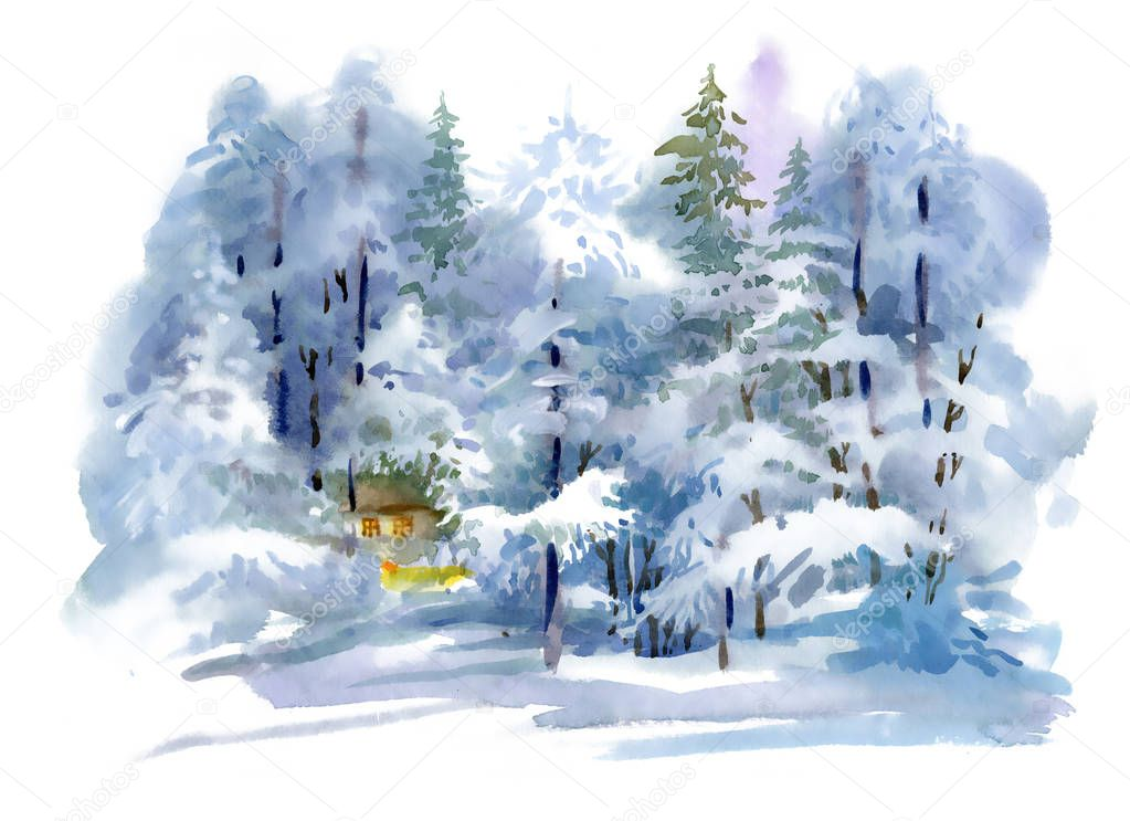 Watercolor winter forest landscape hand drawn illustration