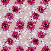 Fotografie Watercolor hand drawn seamless pattern with beautiful flowers and leaves on pink background