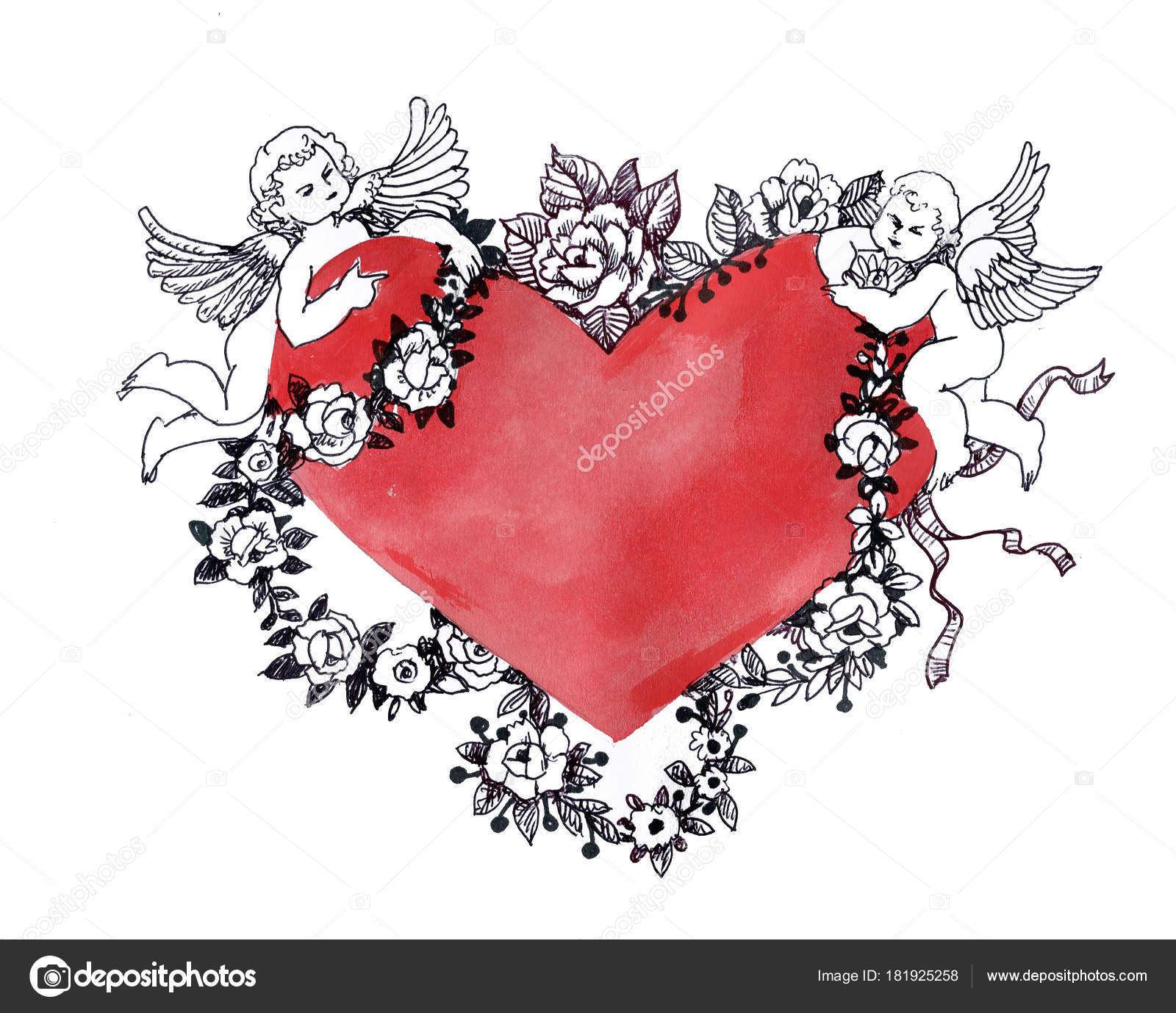 Valentinstag Grußkarte Mit Roten Blumen Herzen Und Engel — Stockfoto ...