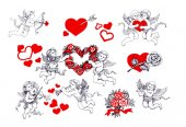 Fotografie set of valentines day red floral hearts with angels