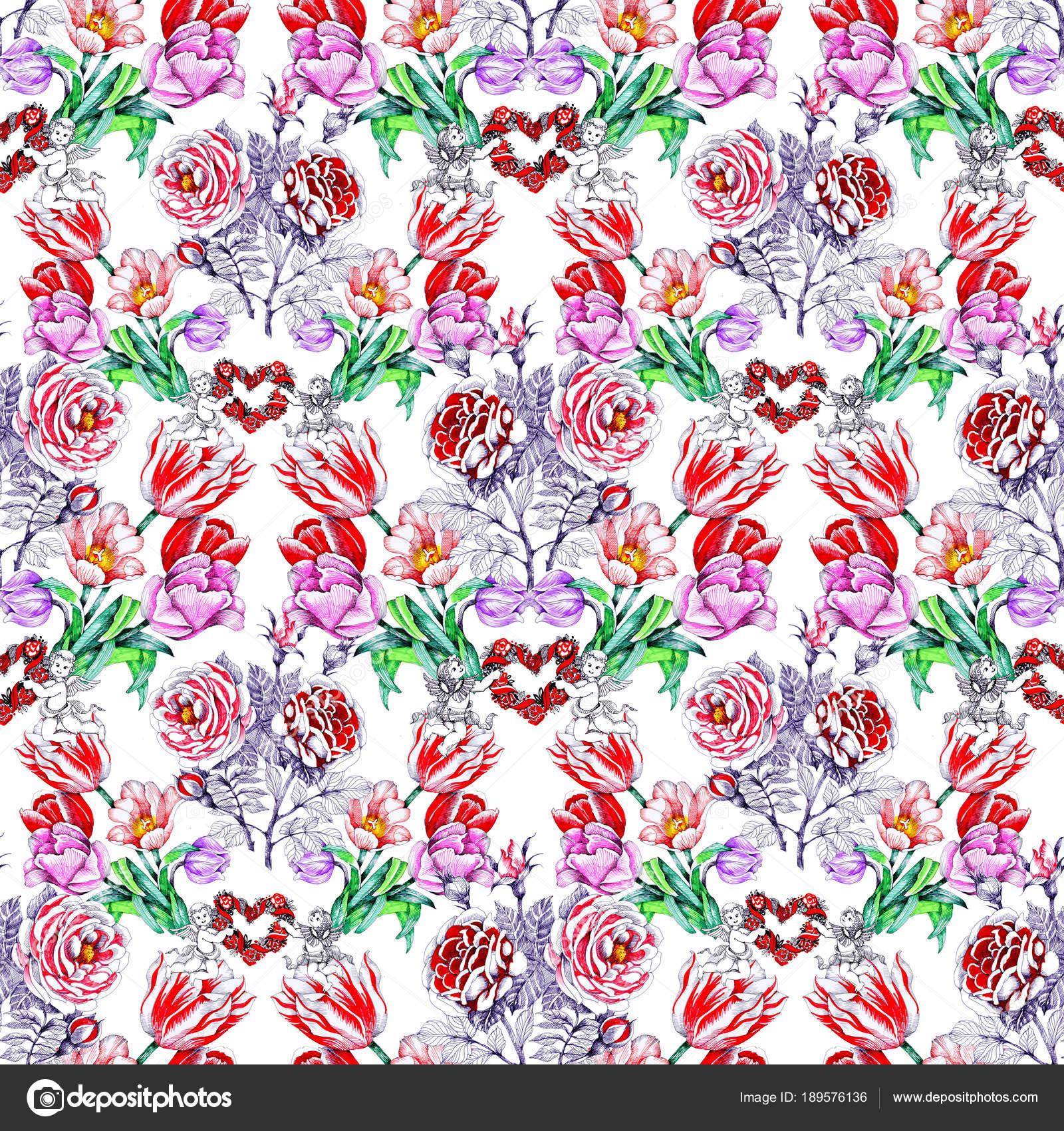 Angeles Tiernos Para Dibujar Patrón Con Hermosas Flores Coloridas