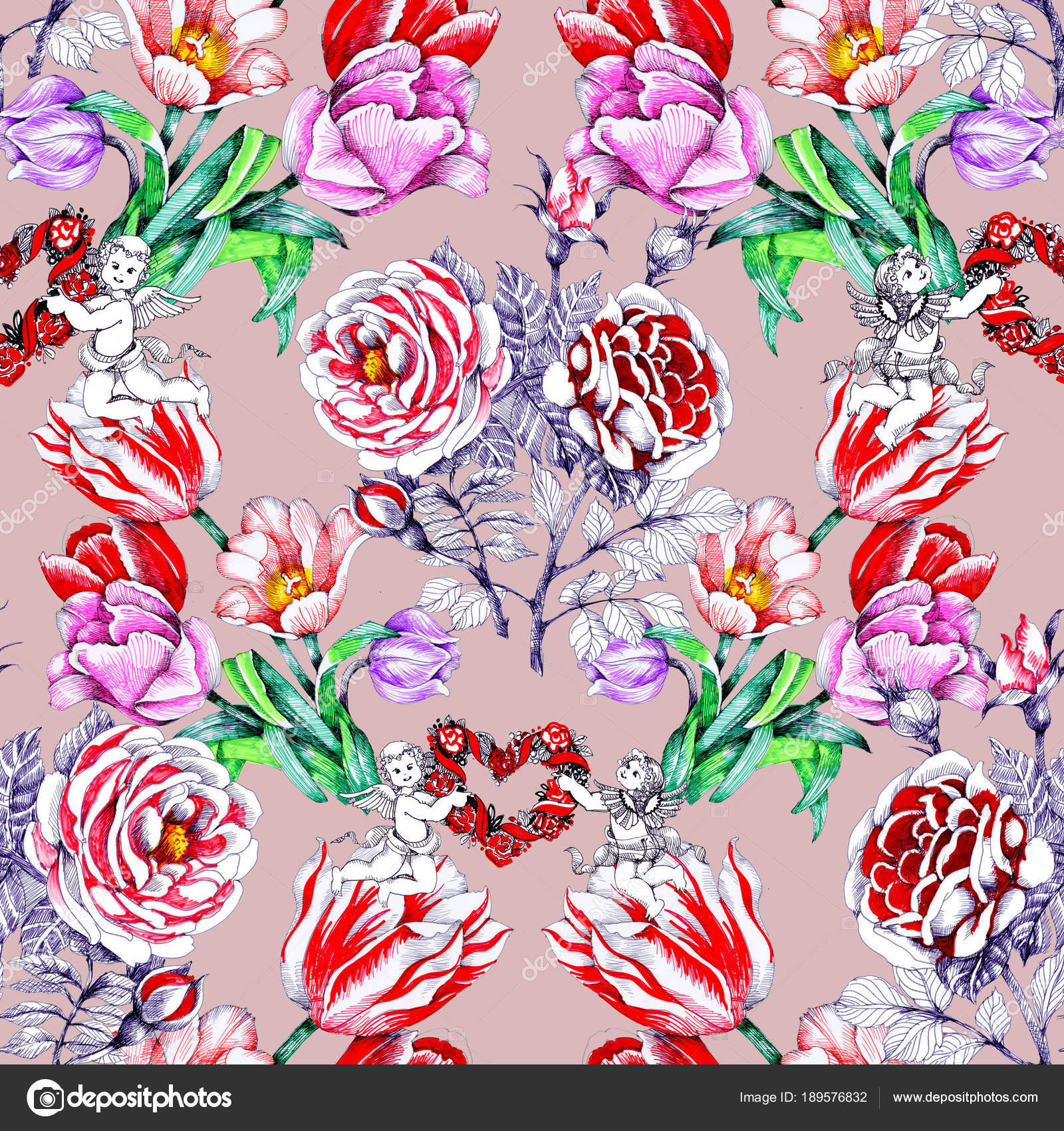 Pattern beautiful colorful flowers hearts angels stock photo pattern beautiful colorful flowers hearts angels stock photo izmirmasajfo Choice Image