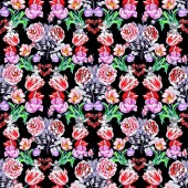 Fotografie pattern with beautiful colorful flowers and hearts and angels