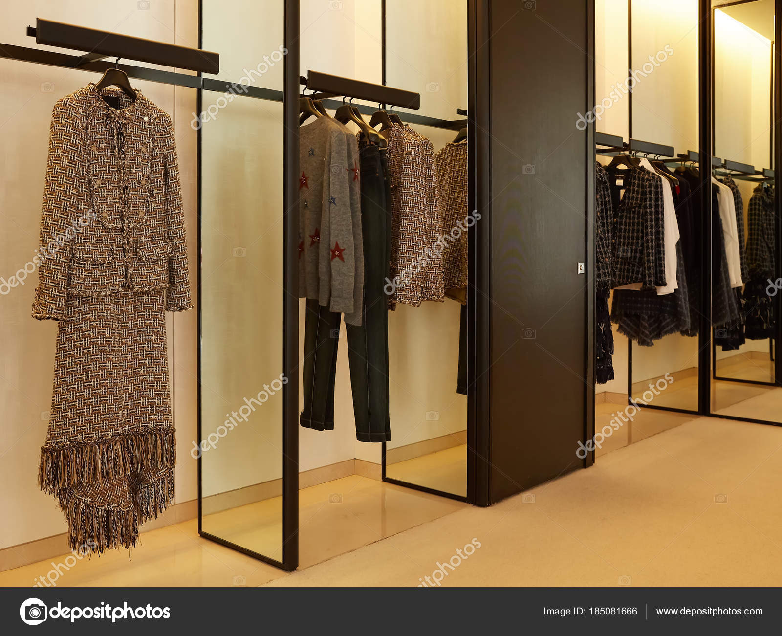 2dec111062b3 luxury and fashionable european different clothes shop — Stock Photo ...