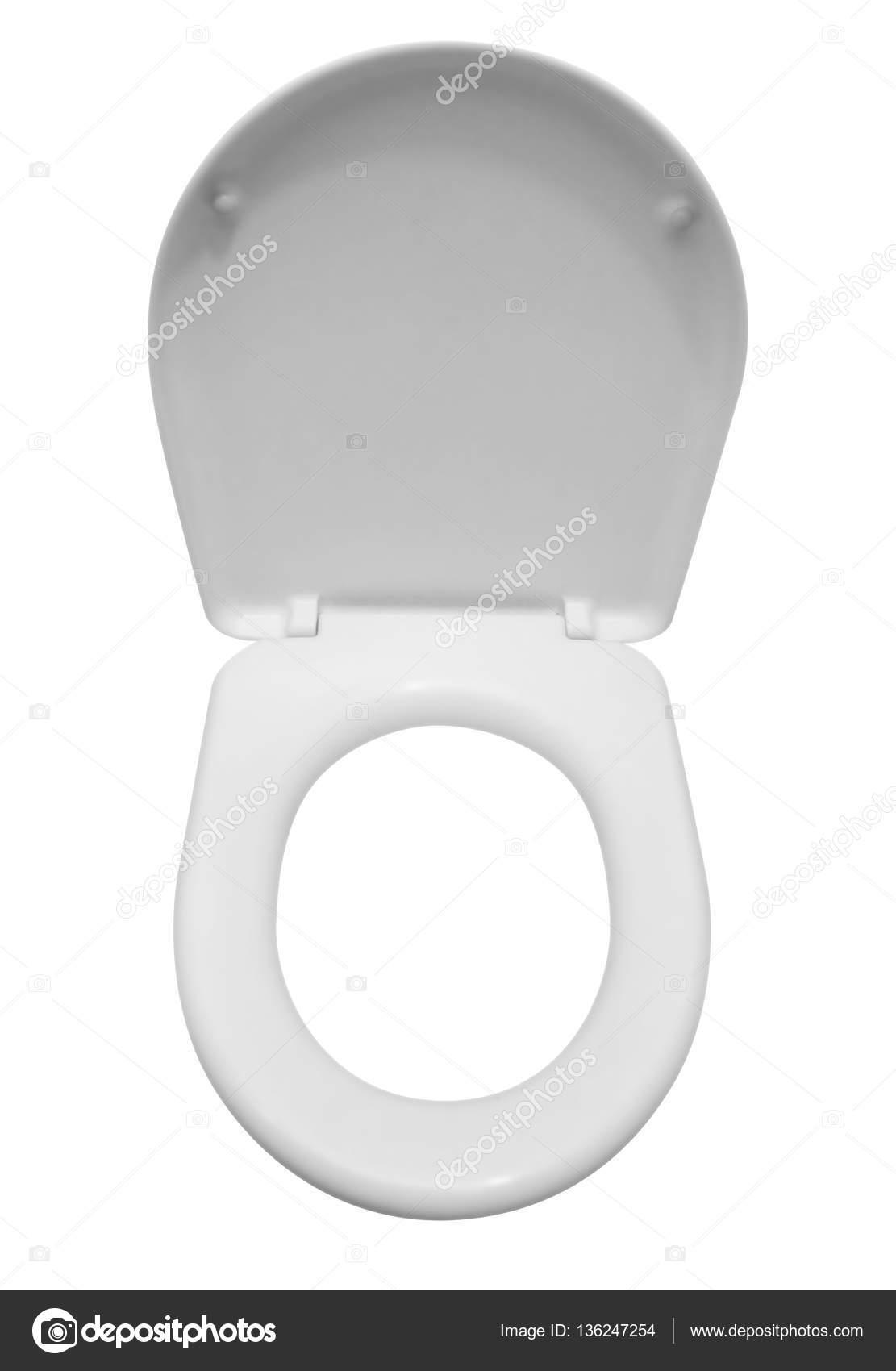0ee8683bed5a02 Witte wc-bril op wit wordt geïsoleerd. Uitknippad opgenomen — Foto van ...