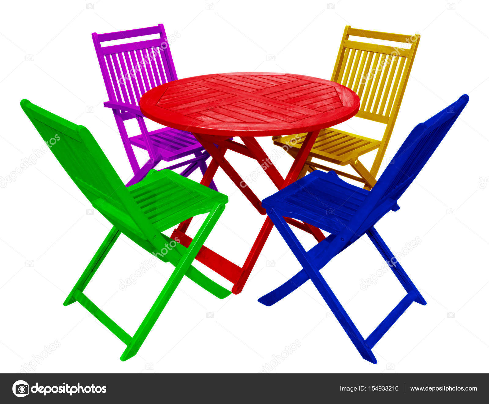 Exceptionnel Colorful Wooden Table And Chairs Isolated On White With Clipping Path U2014  Photo By Venakr