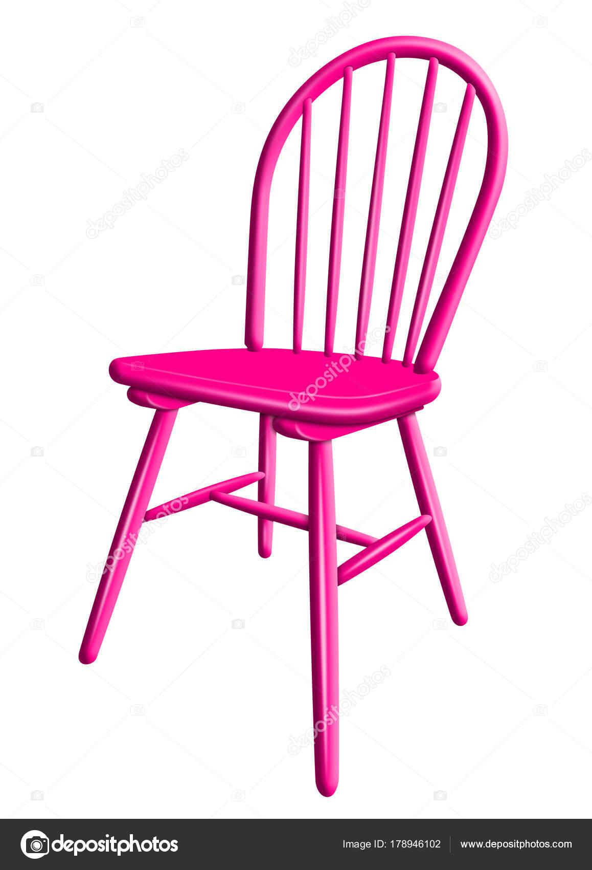 Sedia di plastica isolato - rosa — Foto Stock © venakr ...